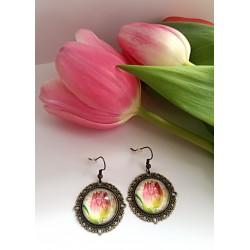 Kolczyki różowe tulipany