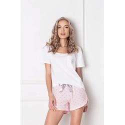 Piżama Q Short Biało-różowa