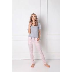 Piżama Q Long Szaro-różowa